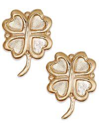 Macy's - Metallic 10k Gold Earrings, Four Leaf Clover Stud Earrings - Lyst
