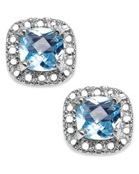Macy's | Metallic Sterling Silver Earrings, Blue Topaz (1-1/5 Ct. T.w.) And Diamond Accent Cushion-cut Stud Earrings | Lyst