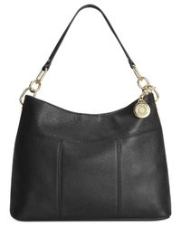 Tommy Hilfiger - Black Th Signature Leather Small Hobo - Lyst