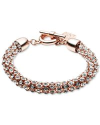 Anne Klein - Metallic Rose Goldtone And Crystal Bracelet - Lyst