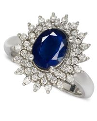 Macy's | 14k White Gold Ring, Sapphire (2-1/5 Ct. T.w.) And Diamond (1/2 Ct. T.w.) Oval | Lyst