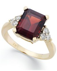 Macy's | Multicolor 14k Gold Ring, Emerald-cut Garnet (3-1/2 Ct. T.w.) And Diamond (1/4 Ct. T.w.) Ring | Lyst