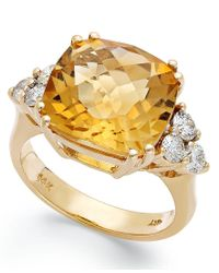 Macy's | Metallic 14k Gold Ring, Citrine (7 Ct. T.w.) And Diamond (5/8 Ct. T.w.) Cushion-cut Ring | Lyst