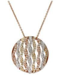 Effy Collection - Metallic Diamond Openwork Circle Pendant Necklace (3/4 Ct. T.w.) In 14k Tri-color Gold - Lyst