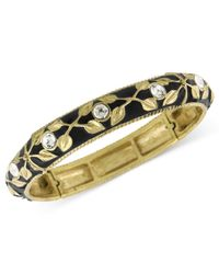 2028 | Metallic Bracelet, Gold-tone And Jet Enamel Stretch Bracelet | Lyst