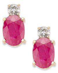 Macy's Pink 14k Gold Earrings, Ruby (2 Ct. T.w.) And Diamond (1/8 Ct. T.w.) Oval Earrings