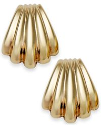 Macy's | Metallic 10k Gold Earrings, Scalloped Shell Stud Earrings | Lyst