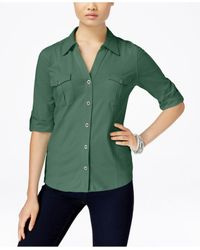 Style & Co. | Green Collared Button-front Shirt | Lyst