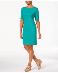 Karen Scott Blue Cotton Boat-neck Dress, Created For Macy's