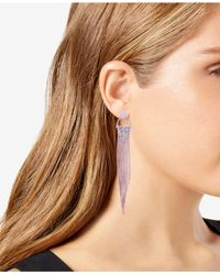 Guess - Pink Rose Gold-tone Pavé Chain Fringe Drop Earrings - Lyst