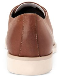Calvin Klein - Brown Men's Faustino Washed Leather Oxfords for Men - Lyst