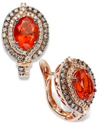 Le Vian - Brown Fire Opal (1-1/5 Ct. Chocolate (1/2 Ct. T.w.) And White Diamond (1/4 Ct. T.w.) Earrings In 14k Rose Gold - Lyst