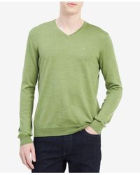 CALVIN KLEIN 205W39NYC - Green Men's Solid V-neck Sweater for Men - Lyst