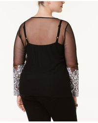 INC International Concepts - Black Plus Size Embroidered Mesh Top - Lyst