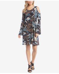 Karen Kane - Blue Cold-shoulder A-line Dress - Lyst