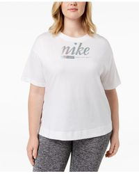 cfc85ae2b8ce9 Lyst - Nike Plus Size Cotton Metallic-logo T-shirt in White