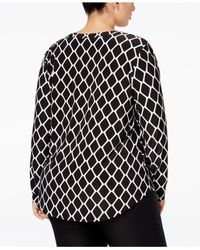 INC International Concepts - Black Plus Size Printed Zip-pocket Shirt, Only At Macy's - Lyst