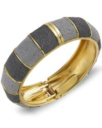 ABS By Allen Schwartz - Metallic Gold-tone Gray Textured Bangle Bracelet - Lyst