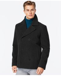Kenneth Cole - Black Wool-blend Peacoat for Men - Lyst
