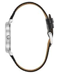 Bulova - Men's Black Croc Embossed Leather Strap Watch 37mm 96b104 for Men - Lyst