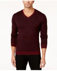 Alfani - Red Men's Geometric V-neck Sweater for Men - Lyst