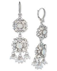 Marchesa - Metallic Crystal & Imitation Pearl Double Drop Earrings - Lyst