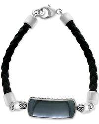Effy Collection | Metallic Men's Hematite (29 X 10mm) Braided Leather Bracelet In Sterling Silver for Men | Lyst