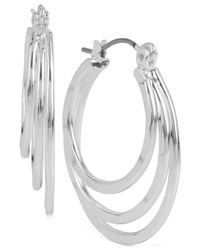 Robert Lee Morris - Metallic Silver-tone Triple Layer Hoop Earrings - Lyst
