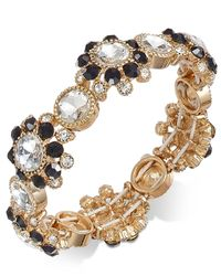 Charter Club - Metallic Gold-tone Clear & Jet Crystal Stretch Bracelet - Lyst