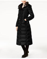 London Fog - Black Faux-fur-trim Down Maxi Coat - Lyst