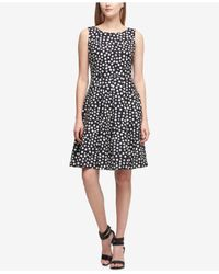 eb4789f6860 Women s Black Brushed Dot Scuba Fit   Flare Dress ...