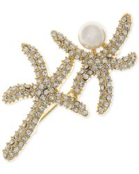 Anne Klein - Metallic Gold-tone Pavé & Imitation Pearl Starfish Brooch - Lyst