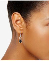 Nine West - Black Silver-tone & Stone Oval Double Drop Earrings - Lyst