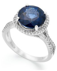 Effy Collection | Blue Velvet Bleu By Effy Manufactured Diffused Sapphire (4 Ct. T.w.) And Diamond (3/8 Ct. T.w.) Round Ring In 14k White Gold | Lyst