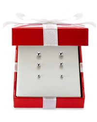 Macy's | White Ball Stud Earring Set In 14k Gold | Lyst