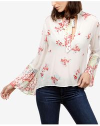 5b89607fc2d Lyst - Lucky Brand Floral-print Tie-neck Peasant Top in Pink