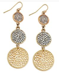INC International Concepts | Metallic Gold-tone Triple Pave Disc Linear Drop Earrings | Lyst