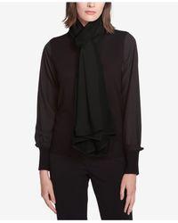 DKNY - Black Mixed Texture Knit Wrap - Lyst