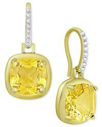 Macy's | Metallic Citrine Cushion Drop Earrings (3-5/8 Ct. T.w.) In 18k Gold-plated Sterling Silver | Lyst