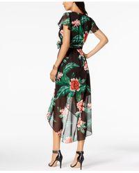 Julia Jordan - Green Floral Print High-low Wrap Midi Dress - Lyst