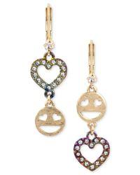 Betsey Johnson | Metallic Two-tone Pavé Emoji & Heart Mismatch Earrings | Lyst