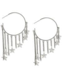 Steve Madden - Metallic Silver-tone Star Charm Hoop Earrings - Lyst