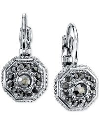 2028 | Metallic Silver-tone Leverback Earrings With Stone Accents | Lyst