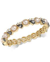 Charter Club - Metallic Gold-tone Crystal & Pink Imitation Pearl Stretch Bracelet - Lyst