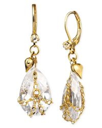 Betsey Johnson - Metallic Teardrop Crystal Earrings - Lyst