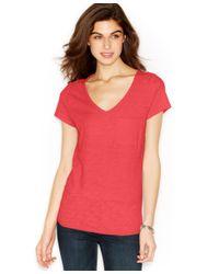 Maison Jules - Pink V-neck Pocket T-shirt - Lyst