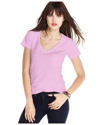 Maison Jules - Pink V-neck Pocket T-shirt - Lyst