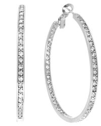 Touch Of Silver | Multicolor Silver-plated Crystal Hoop Earrings, 50mm | Lyst
