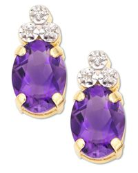 Macy's | Metallic 10k Gold Amethyst & Diamond Accent Earrings | Lyst