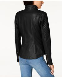 Guess - Black Quilted Faux-leather Moto Jacket - Lyst